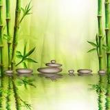 Pedras e floresta de bambu com reflexão no fundo dos termas da água Ilustração da aquarela com espaço para o texto ilustração royalty free