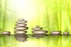 Pedras e floresta de bambu com reflexão no fundo dos termas da água Ilustração da aquarela com espaço para o texto ilustração stock