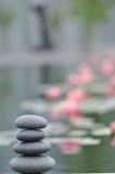 Pedras e lírios do zen Fotografia de Stock