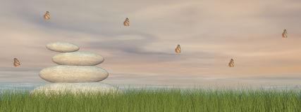 Pedras e paz do zen - 3D rendem Fotografia de Stock
