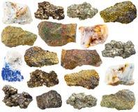 Pedras e rochas minerais de gema da vária pirite Foto de Stock Royalty Free