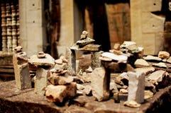 Pedras na exposição no local do theHeritage em Angkor Wat, Camboja Fotografia de Stock