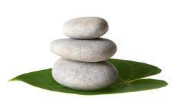 Pedras na folha Imagens de Stock