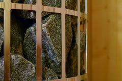 Pedras no calefator da sauna do modelo da coluna Foto de Stock Royalty Free