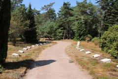 Pedras no campo da honra Loenen nos Países Baixos onde os soldados caídos e os membros executados da resistência foram enterrados imagem de stock