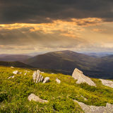 Pedras no montanhês no por do sol Imagem de Stock