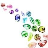 Pedras preciosas coloridas isoladas Foto de Stock