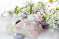 Pedras preciosas com flores ervais foto de stock
