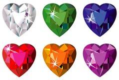 Pedras preciosas cortadas coração com faísca Imagem de Stock