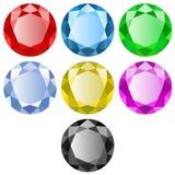 Pedras preciosas de cores diferentes no fundo branco ilustração royalty free