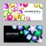 Pedras preciosas Diamond Jewels Banner Set Imagem de Stock Royalty Free