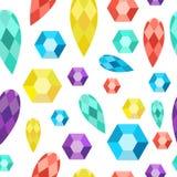 Pedras preciosas do teste padrão sem emenda, gemas, diamantes, cristais Foto de Stock Royalty Free