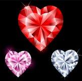 Pedras preciosas na forma do coração Imagens de Stock Royalty Free