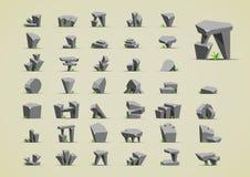 Pedras simples com grama verde para criar jogos de vídeo Ilustração do Vetor
