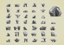 Pedras simples com neve para criar jogos de vídeo Ilustração Stock