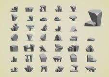 Pedras simples para criar jogos de vídeo Ilustração Stock