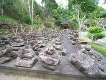 Pedras usadas para templos velhos em Goa Gajah, Bali Fotos de Stock