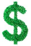 Pedras verdes apresentadas sob a forma do dólar Fotografia de Stock