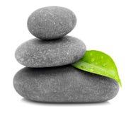 Pedras verdes da folha e do zen Fotografia de Stock Royalty Free