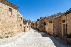 Pedraza, Castilla Y Leon, Spain: Calle de la Florida. Pedraza is one of the best preserved medieval villages of Spain, not far from Segovia stock images