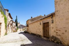Pedraza, Castilla Y Leon, Spain: Calle de las cuestas. Pedraza is one of the best preserved medieval villages of Spain, not far from Segovia stock images