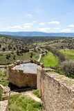 Pedraza, Castilla Y Leon, Spain: view from the mirador in Calle de la Cuestas. Pedraza is one of the best preserved medieval villages of Spain, not far from royalty free stock photos