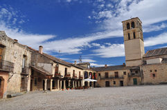Spanish village Pedraza, main square. Castile, Spain Royalty Free Stock Images