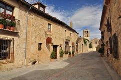 Pedraza, Segovia province, Castile, Spain. The main street of the medieval Pedraza village. Province of Segovia, Castile and Leon, Spain Royalty Free Stock Photo