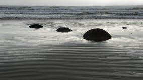 Pedregulhos de Moeraki, ressaca do oceano e ondinha em uma praia vazia de Nova Zelândia vídeos de arquivo