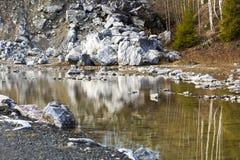 Pedreira de mármore no parque da montanha Fotografia de Stock Royalty Free