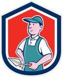 Pedreiro Mason Plasterer Shield Cartoon Imagem de Stock Royalty Free