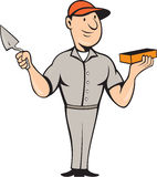 Pedreiro Mason Plasterer Standing Cartoon Imagem de Stock