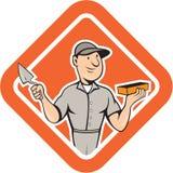 Pedreiro Mason Plasterer Standing Shield Cartoon Fotos de Stock Royalty Free