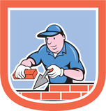 Pedreiro Mason Plasterer Worker Cartoon Imagens de Stock