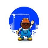 Pedreiro ou construtor dos desenhos animados com pá de pedreiro Fotografia de Stock Royalty Free