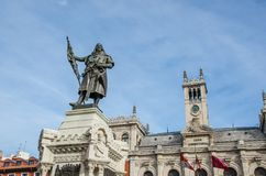 Pedro Ansurez statue in Valladolid. Town hall in the city of Valladolid with Pedro Ansurez Statue. Valladolid, Castile and Leon, Spain stock photography