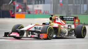 Pedro de la Rosa som är tävlings- i grand prix för F1 Singapore Arkivbild