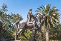 Pedro De Valdivia Statua przy Placem De Armas Obciosujący, Santiago -, Chile fotografia stock
