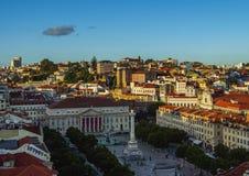 Pedro droppfyrkant i Lissabon Royaltyfri Fotografi