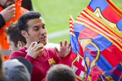 Pedro at FC Barcelona training session Stock Images