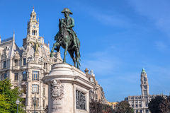 Pedro IV on Liberdade Square Royalty Free Stock Photos
