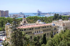 Pedro Luis Alonso gardens and the Town Hall building in Malaga, Stock Images