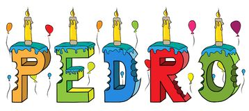 Pedro male first name bitten colorful 3d lettering birthday cake with candles and balloons.  Royalty Free Stock Photo