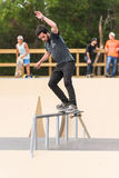 Pedro Mano. ILHAVO, PORTUGAL - AUGUST 22, 2015: Pedro Mano during the Ilhavo's Skateboarding Championship and the new skatepark opening Stock Photo
