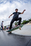 Pedro Mano. ILHAVO, PORTUGAL - AUGUST 22, 2015: Pedro Mano during the Ilhavo's Skateboarding Championship and the new skatepark opening Royalty Free Stock Photography