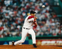 Pedro Martinez Boston Red Sox. Boston Red Sox pitcher Pedro Martinez delivers a pitch in the 2003 ALCS against the New York Yankees. (Image taken from color Royalty Free Stock Images