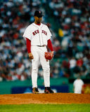 Pedro Martinez Boston Red Sox. Boston Red Sox pitcher Pedro Martinez looks for a pitch in the 2003 ALCS against the New York Yankees. (Image taken from color Stock Image