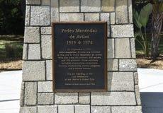 Pedro Menéndez de Avilés Platta, St Augustine, Florida arkivfoto