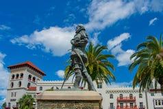 Pedro Menendez de Aviles-standbeeld, in de Historische Kust van Florida stock foto's