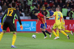Pedro Rodriguez. Pedro Eliezer Rodriguez Ledesma striker of the Spanish National Football Team, pictured during the friendly match between Romania and Spain royalty free stock photography
